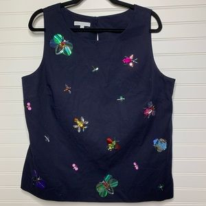 NEW Talbots beaded embellished butterfly top